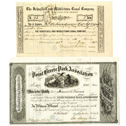 Pennsylvania Land Company Stock Certificate Pair.