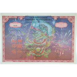 California Chinese Fireworks Productions Inc. 2004 Stock Certificate
