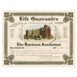 Burleson Sanitarium. 1921. Life Guarantee Certificate.
