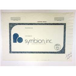 Symbion Inc. 1976 Proof Stock Certificate,  Robert Jarvik, Developer of Artificial Heart Company.