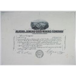 Alaska Juneau Gold Mining Co. 1900-1920's Progress Proof Stock Certificate