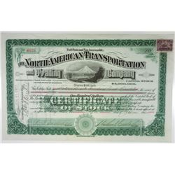 North American Transportation and Trading Co., 1900 I/U Stock Certificate.