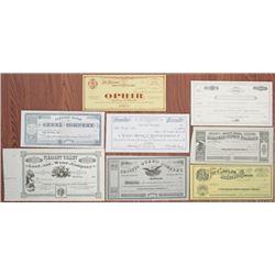 California, Nevada & Utah Mining, Canal, Guano and Railroad U/U Stock Certificate Assortment of 8, c