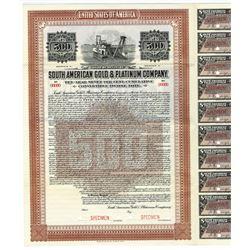 South American Gold Platinum Co. 1916 Specimen Bond.