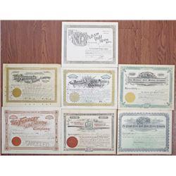 Colorado Mining Stock Certificate Group of 7, 1895-1899.