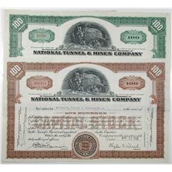 National Tunnel & Mines Co.  Stock Certificate Pair, ca. 1939-1946