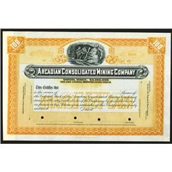 Arcadian Consolidated Mining Company, ND (ca. 1900-1920) Specimen Stock Certificate.