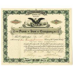 Penn Yan Co. 1895 I/U Stock Certificate