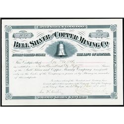 Bell Silver and Copper Mining Co., I/U Stock Certificate.