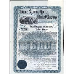 Gold Hill Mining Co., 1890 I/U Coupon Bond.