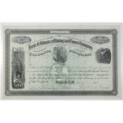 Santa Fe Bonanza Mining and Tunnel Co. 1881 I/U Stock Certificate