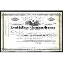 Associate Mining and Investment Co., 1880's Specimen Stock Certificate.