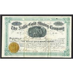 Nellie Gold Mining Co. of Colorado. 1884 I/U Stock Certificate.