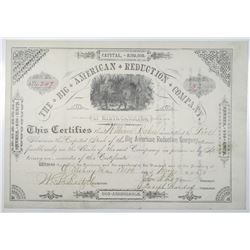 Big American Reduction Co. 1885 Stock Certificate