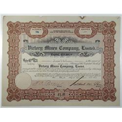 Victory Mines Co., Ltd. 1913 I/U Stock Certificate