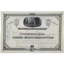 Empire Mining Co. of Utah 1880 Stock Certificate