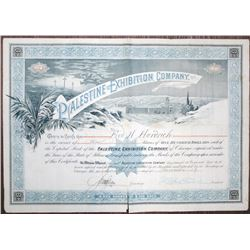 Palestine Exhibition Co. 1888 I/U Stock Certificate Signed by Lawrence Earle