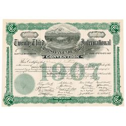 Twenty-Third International Christian Endeavor Convention, 1907 Issued Certificate