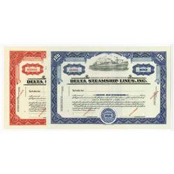 Delta Steamship Lines, Inc., 1940s Pair of Specimen Stock Certificates