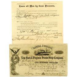 New York and Virginia Steam Ship Co., 1859 I/U Stock Certificate.