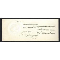 Codorus Navigation Company, 1838 I/U Stock Certificate Signed by Charles A. Barnitz