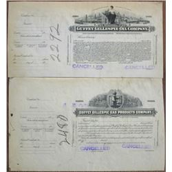 Guffey Gillespie Oil Co. and Guffey Gillespie Gas Products Co., 1918 Progress Proof Stock Pair