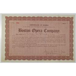 Boston Opera Co. 1910 I/U Stock Certificate