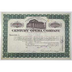Century Opera Co. 1913 I/U Stock Certificate Signed by Edward Kellogg Baird as President.