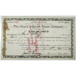 Heuck's Opera House Co. 1886 I/C Stock Certificate
