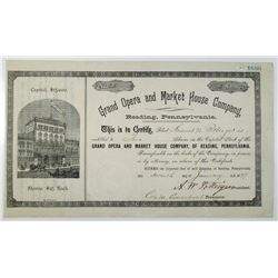 Grand Opera and Market House Co. 1897 I/U Stock Certificate