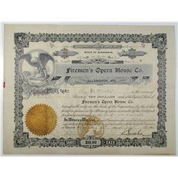 Firemen's Opera House Co. 1905 I/U Stock Certificate