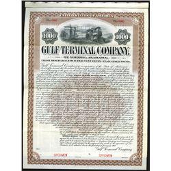 Gulf Terminal Company of Mobile Alabama, 1907 Specimen Bond.