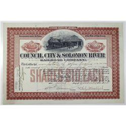 Council City & Solomon River Railroad Co. 1905 Stock Certificate
