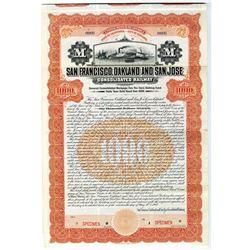 San Francisco, Oakland and San Jose Consolidated Railway 1908 Specimen Bond