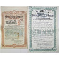 Sierra Railway Co. of California 1897 & 1904 Bond Pair