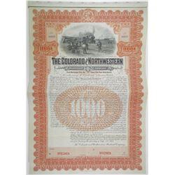 Colorado and Northwestern Railroad Co., 1904 Specimen Bond Rarity.