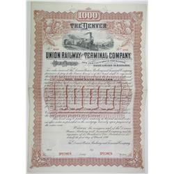 Denver Union Railway and Terminal Co., 1890 Specimen Bond Rarity