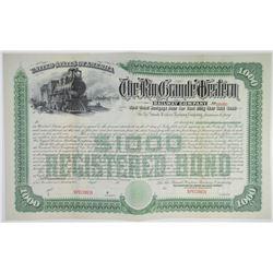 Rio Grande Western Railway Co. 1889 (Reissued in 1900) Specimen Bond