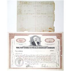 Cornelius Vanderbilt Signature on 1866 Accounting Ledger Document.