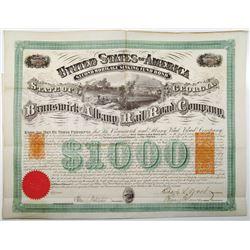 Brunswick and Albany Rail Road Co., 1869 I/U Bond With RN-P5(2) and RN-W2 Imprinted Revenues