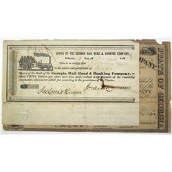 Georgia Rail Road & Banking Co., 1837, 1842 & 1848 I/U Stock Certificate Trio.