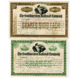 Southwestern Railroad Co., 1897-1903 I/C Pair of Stock Certificates