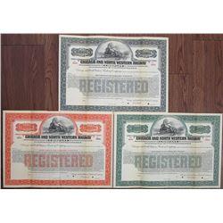"Chicago and North Western Railway Co. 1920 ""Series C"" Specimen Bond Trio."
