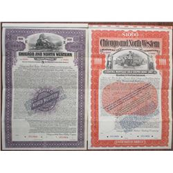 Chicago and North Western Railway Co., 1891 and 1920 Specimen Bond Pair