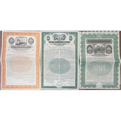 Chicago, Burlington & Quincy Railroad Co. 1908 -1944 Specimen Bond Trio