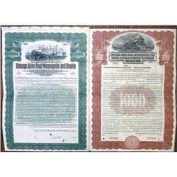 Chicago, Saint Paul, Minneapolis and Omaha Railway Co. Specimen Bond Pair, ca. 1912-1917