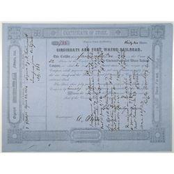 Cincinnati and Fort Wayne Railroad 1856 Issued Stock Certificate
