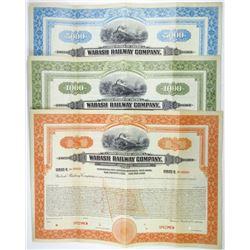 Wabash Railway Co. 1926 Specimen Bond Trio