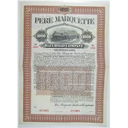 Pere Marquette Railroad Co. 1904 Specimen Bond Rarity