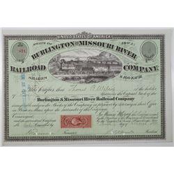Burlington and Missouri River Railroad Co. 1871 I/C Stock Certificate